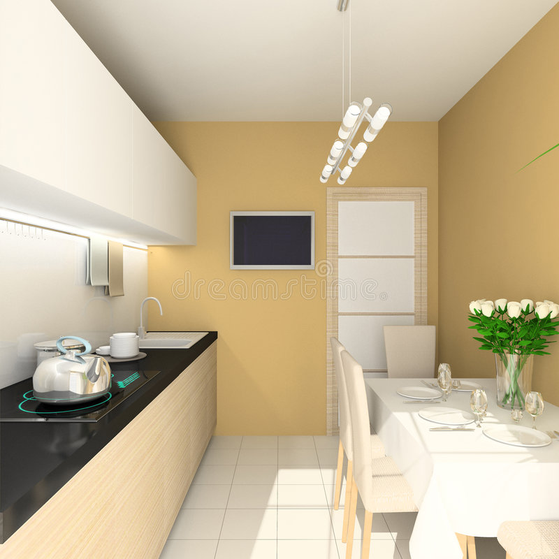3D render modern interior of dining-room royalty free illustration