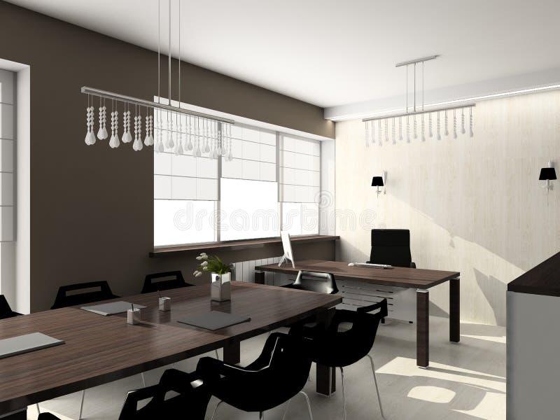 3D render modern interior of office vector illustration
