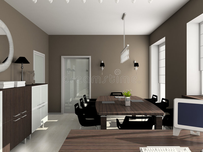 modern interior office stock. Download 3D Render Modern Interior Of Office Stock Illustration - Computer, Floor: P