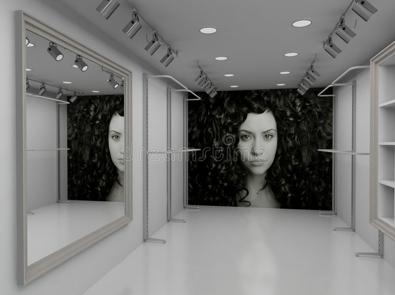 3D Render Modern Interior Of Shop Royalty Free Stock Photos