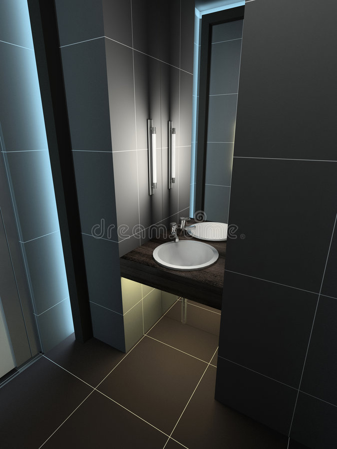 3D render modern interior of toilet. Modern design interior of toilet. 3D render royalty free stock photography
