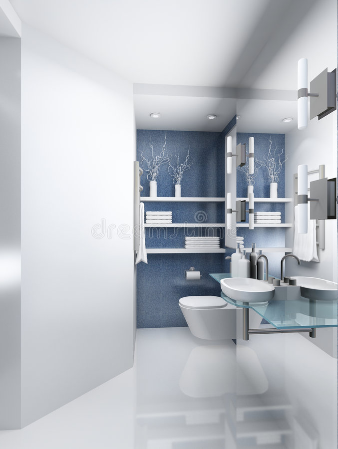 3D render modern interior of toilet royalty free stock photography