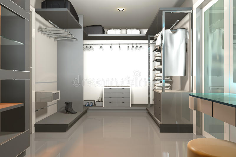 3D render modern interior with walk-in-closet royalty free stock image