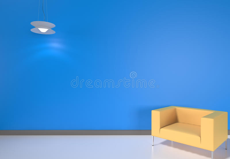 3D render modern interior with yellow armchair stock photo