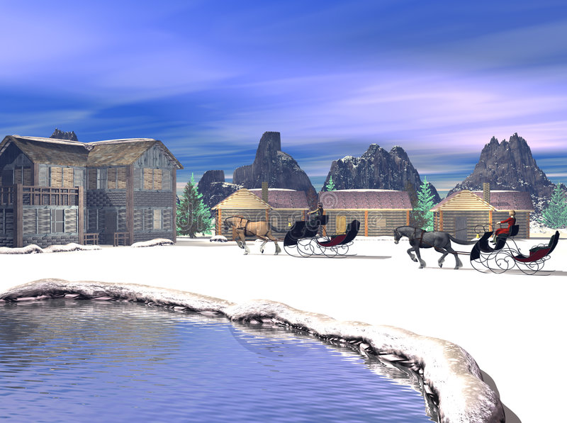 Download 3D Render Mountain Retreat stock illustration. Illustration of horse - 1579385