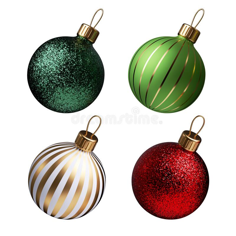 Free 3d Render, Set Of Traditional Red Green Glass Ball Ornaments For Christmas Tree Decoration, Holiday Clip Art Isolated On White Royalty Free Stock Photo - 200345455