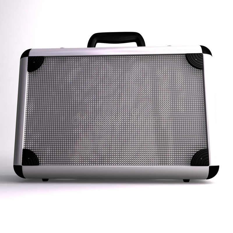 A 3D render of a Silver toned metal briefcase vector illustration