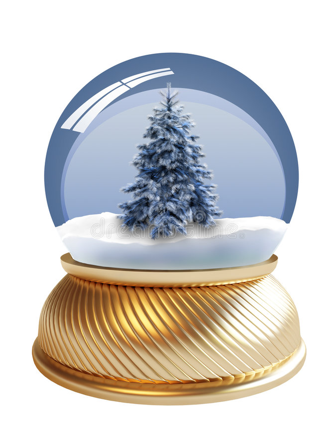 3D render of snow globe with clipping path
