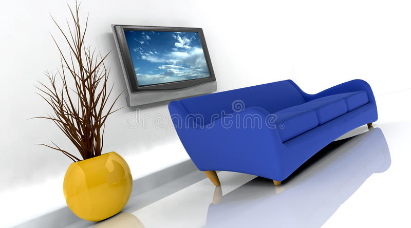 3d render of sofa and tv vector illustration
