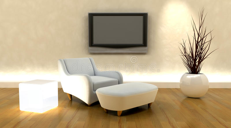 3d render of sofa and tv stock illustration
