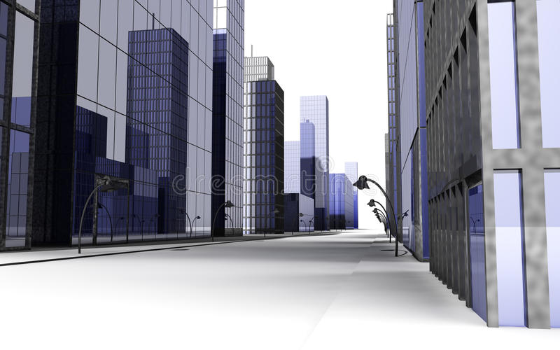 3D render of street in a big city with streetlight stock photography