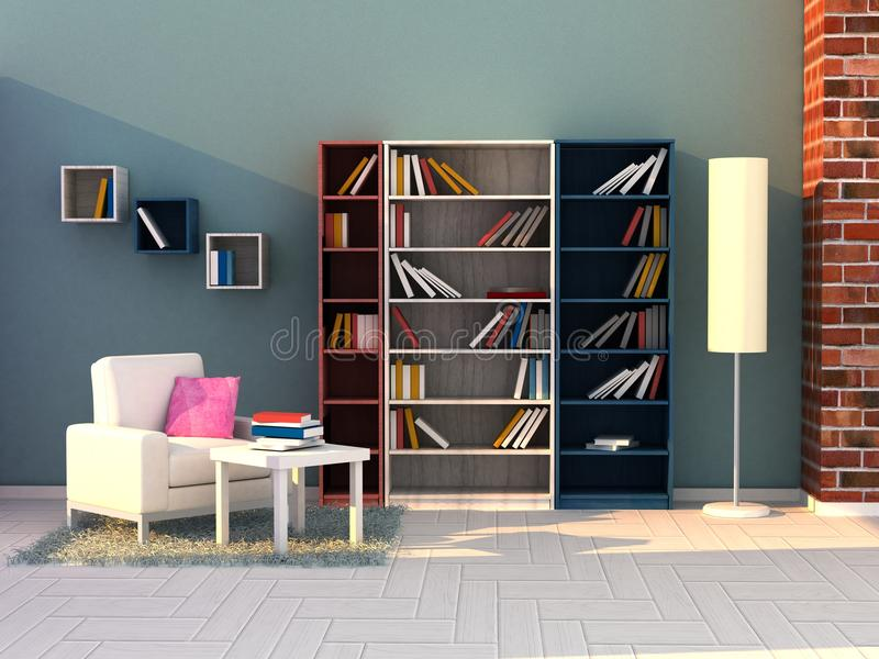 3d render study room, modern room stock images
