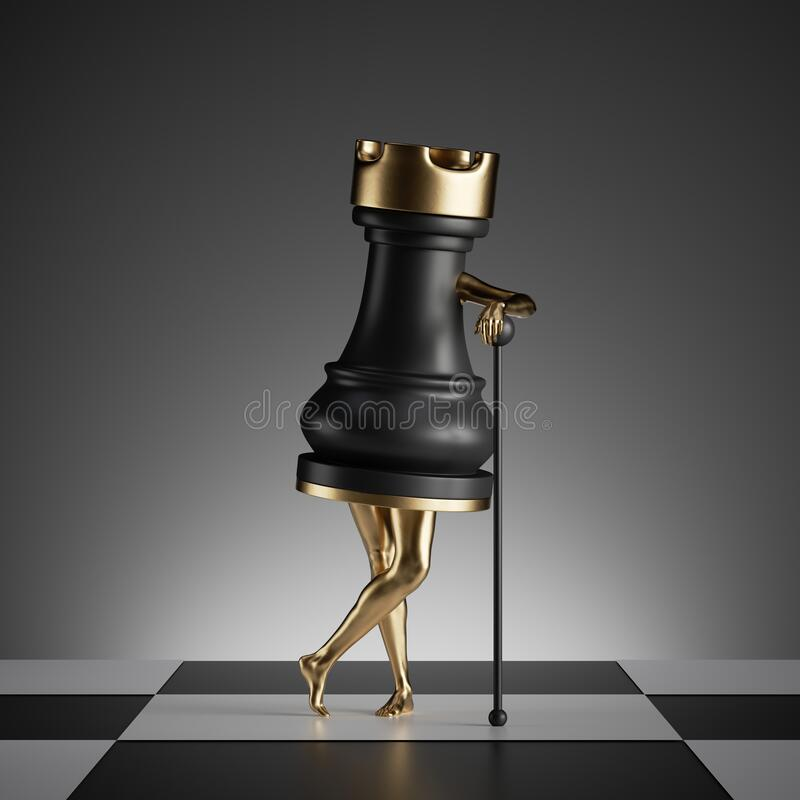 Free 3d Render, Surreal Concept, Chess Game Piece, Black Rook Object With Golden Slim Legs, Classic Checkered Floor Royalty Free Stock Images - 189407009