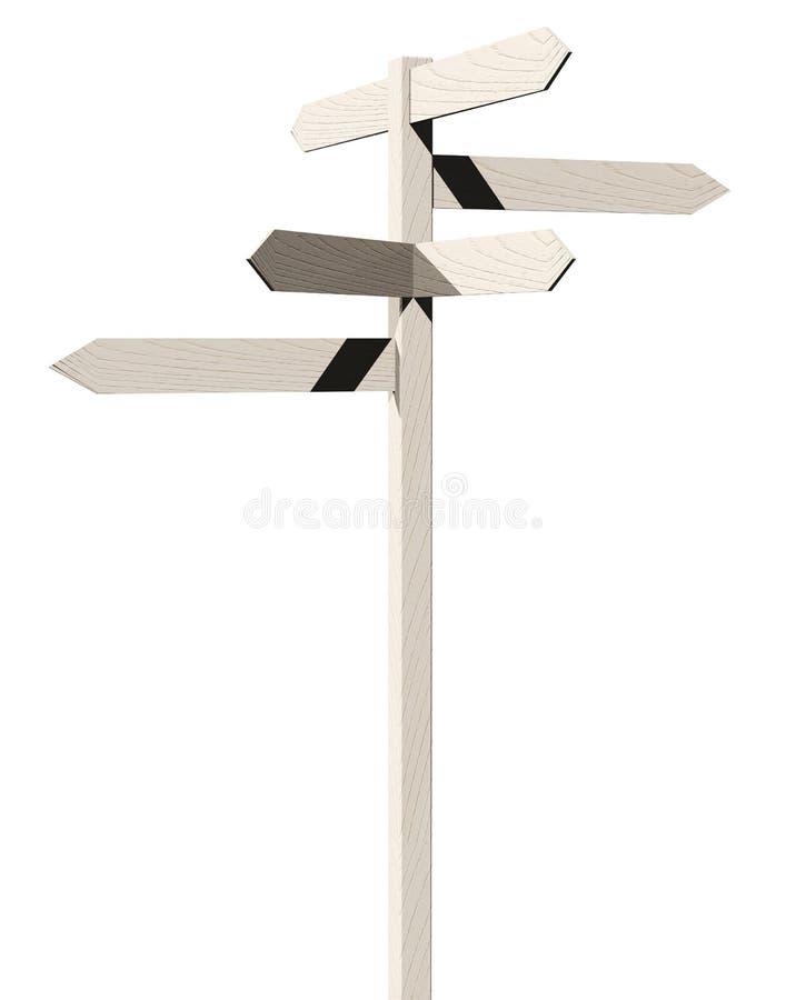 3d render of wooden arrows road sign royalty free illustration