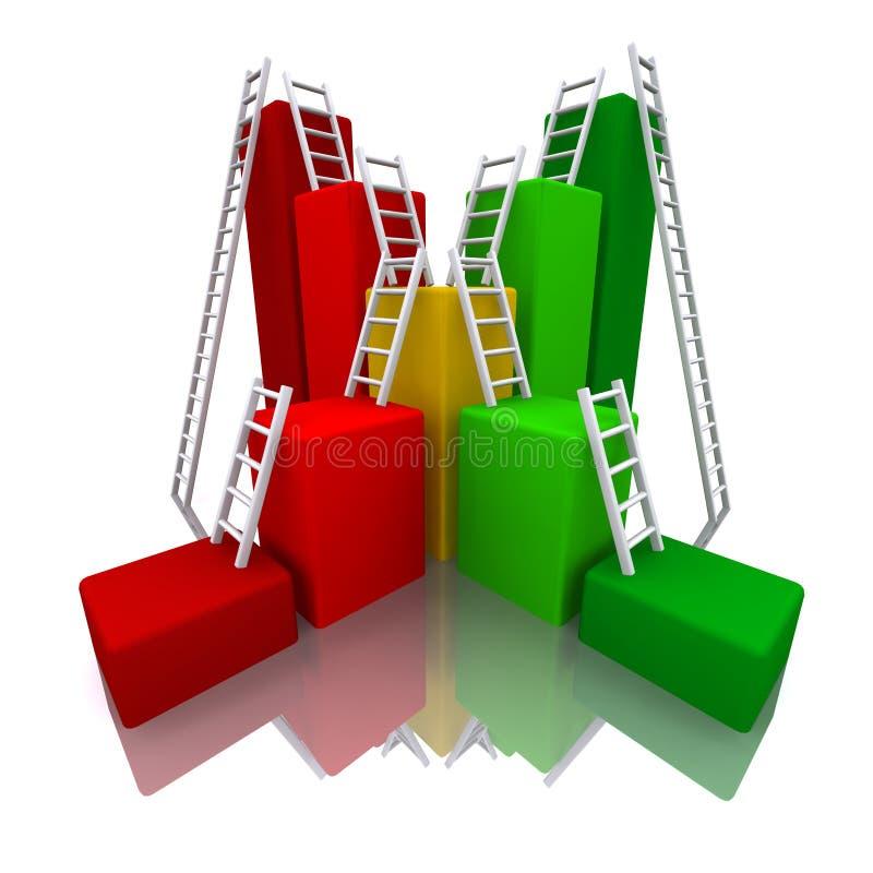 Download 3D Rendered Color Bar Graph With Ladder Stock Illustration - Image: 24133873
