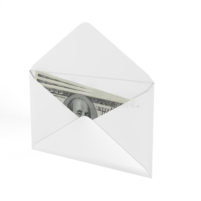 3d Rendered Envelope with a money. stock illustration