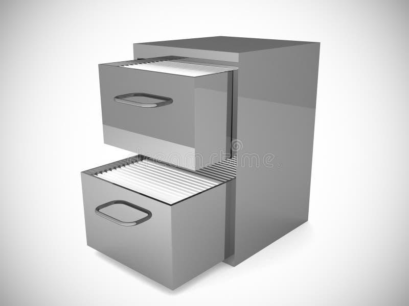 3D rendered file drawer over white background. 3D rendered file drawer over white background stock illustration