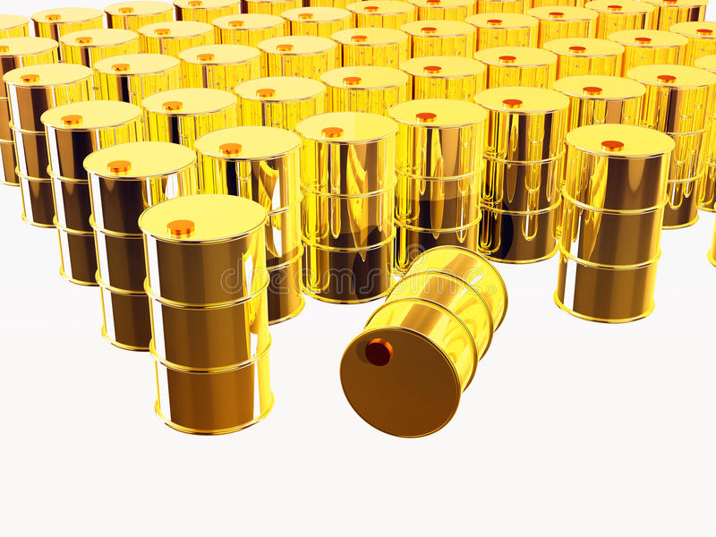 Download 3D Rendered Gold Oil Barrels Stock Illustration - Image: 19082809