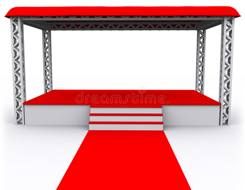 3D rendered Isolated empty Stage stock illustration