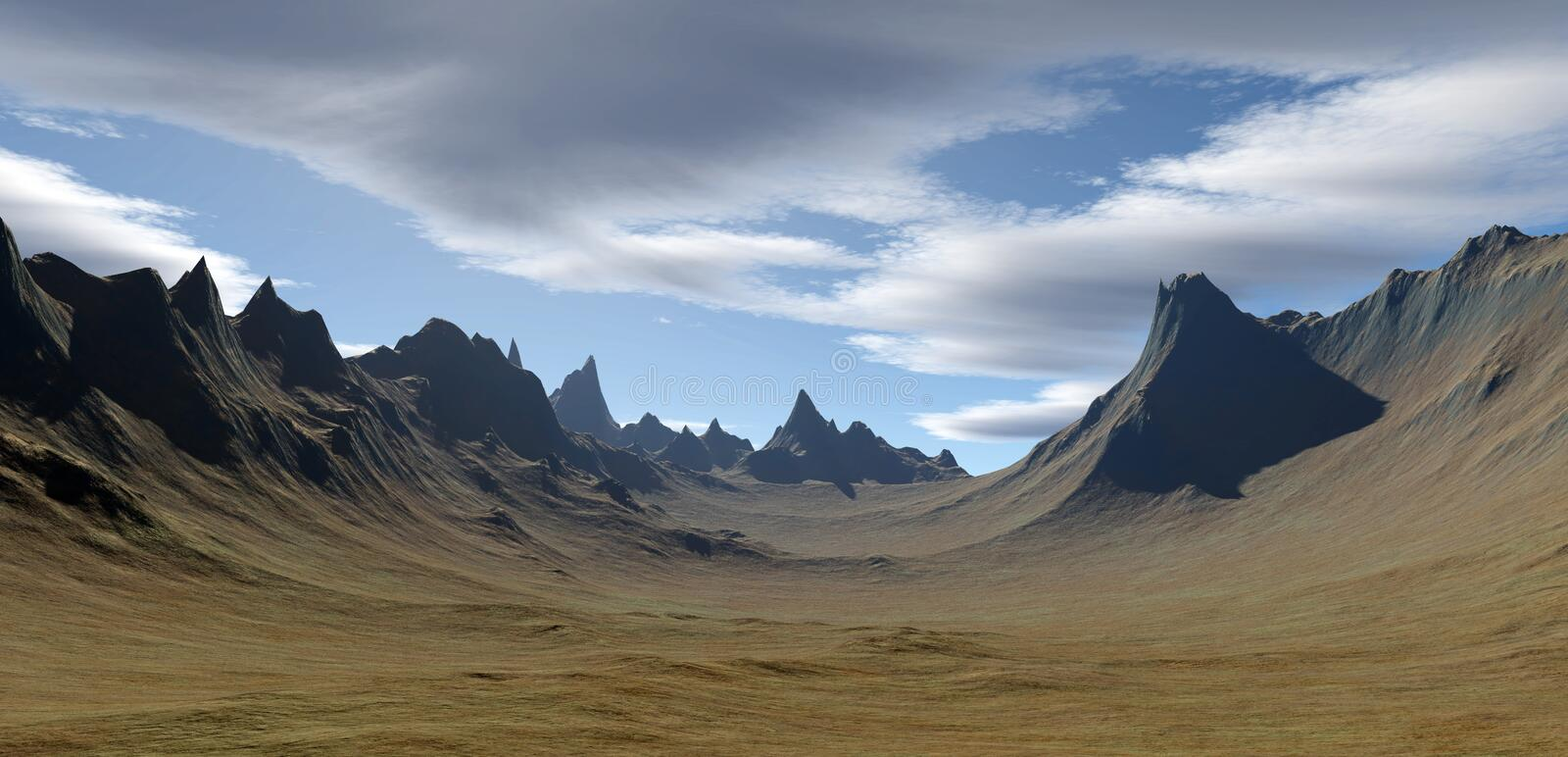 3D rendered landscape. (fantasy background stock illustration