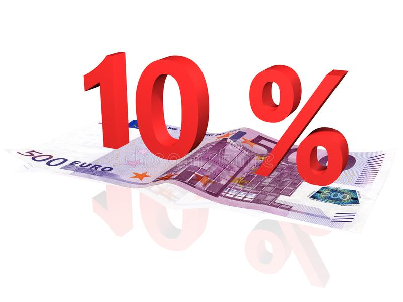 3d rendered percentage on euro banknote stock images