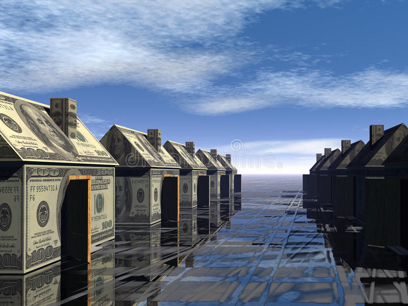 Download 3D Rendered Street Of Money Made Houses Stock Illustration - Image: 9665949