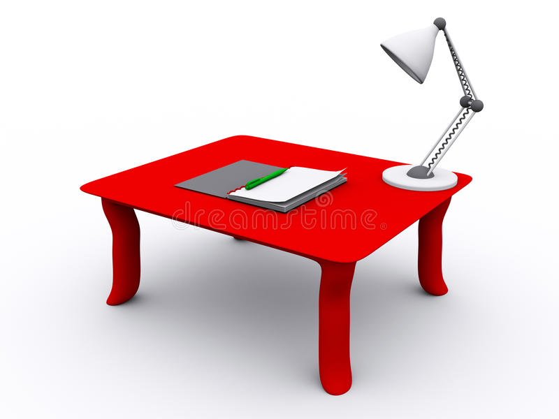 3D rendered table. With notebook and lamp royalty free illustration