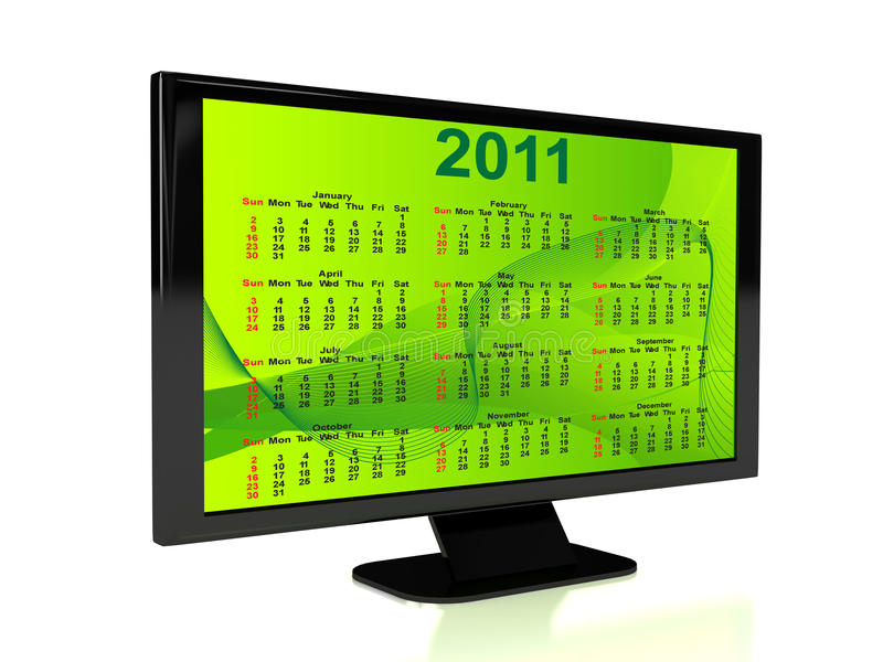3d rendered TV with calendar stock illustration