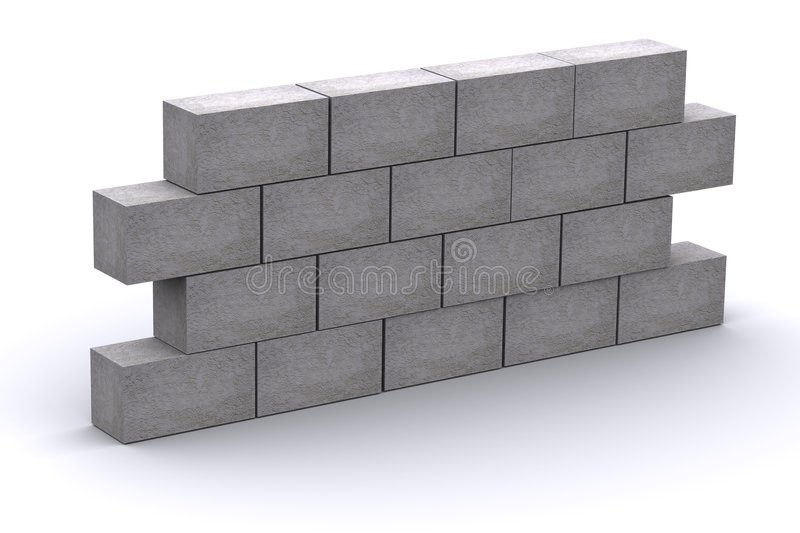 3d Rendered Wall. 3d rendered concrete wall representing a obstacle royalty free illustration