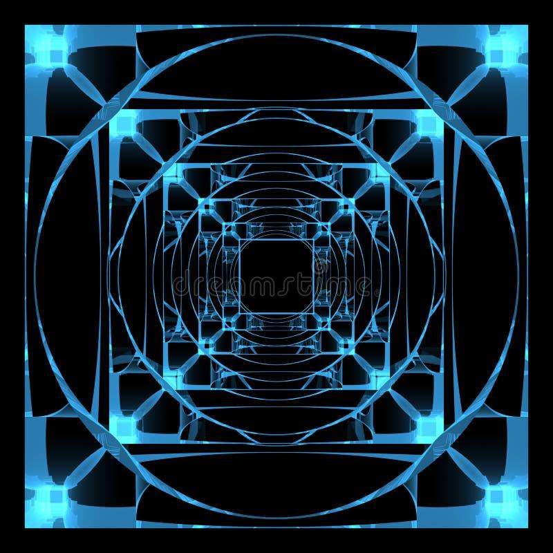 3D rendered xray transparent hyper cube. 3D rendered blue xray transparent hyper cube stock illustration