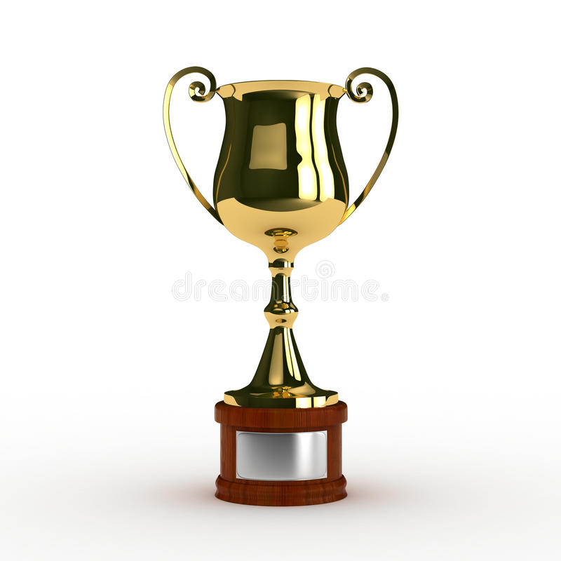 3d rendering of classic trophy in gold stock images