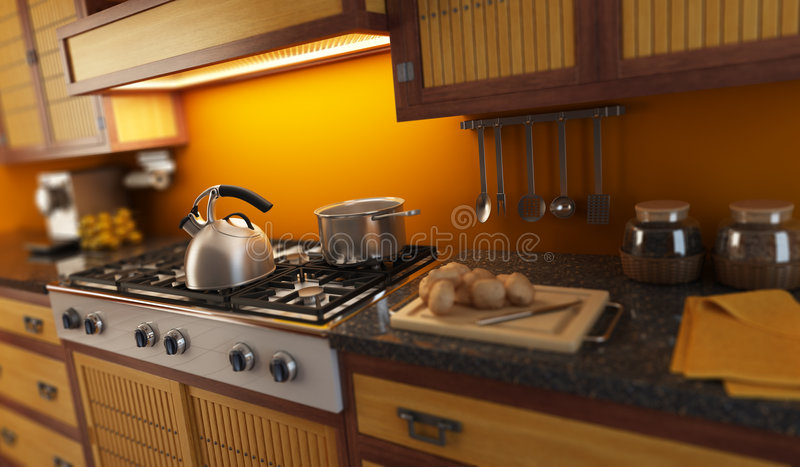 3d rendering close-up view of modern kitchen royalty free illustration