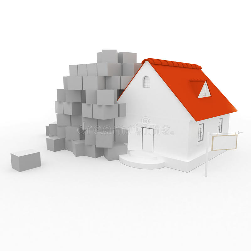3D rendering of a house vector illustration