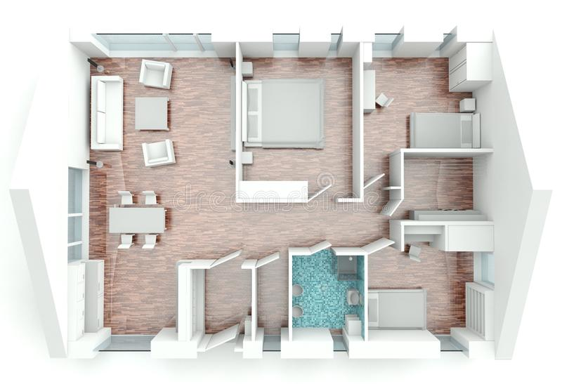 3D rendering house plan royalty free illustration
