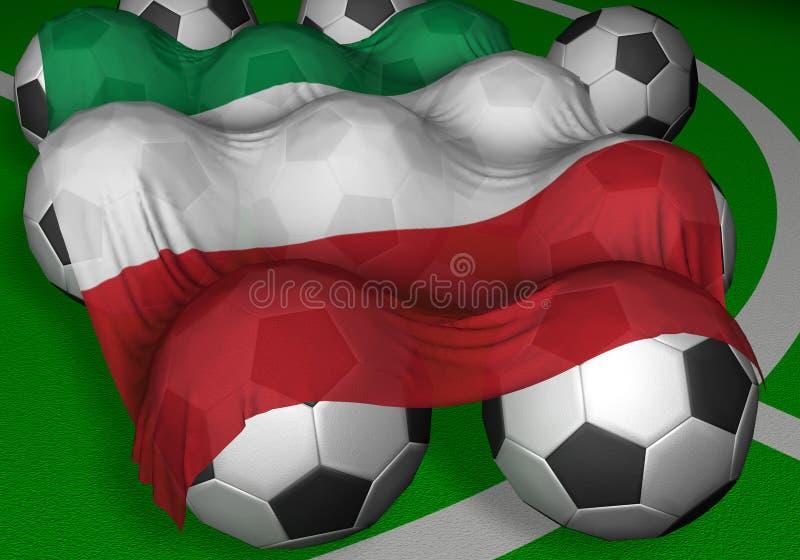 3D-rendering Italy flag and soccer-balls stock illustration