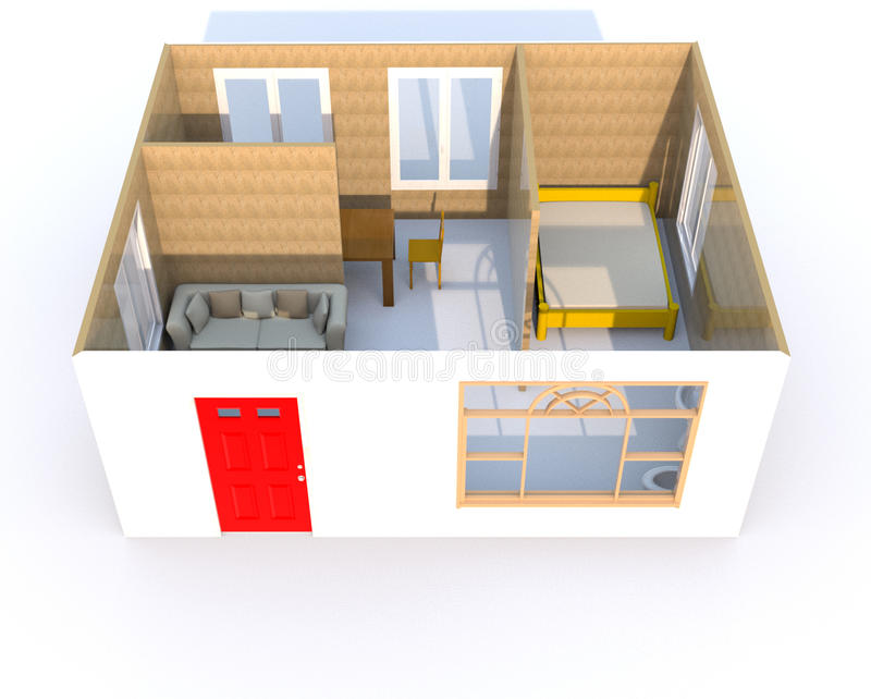 3D Rendering Of A Little Home Stock Photos