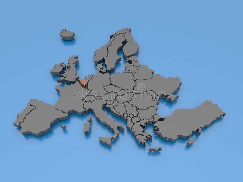3d rendering of a map of Europe - Belgium