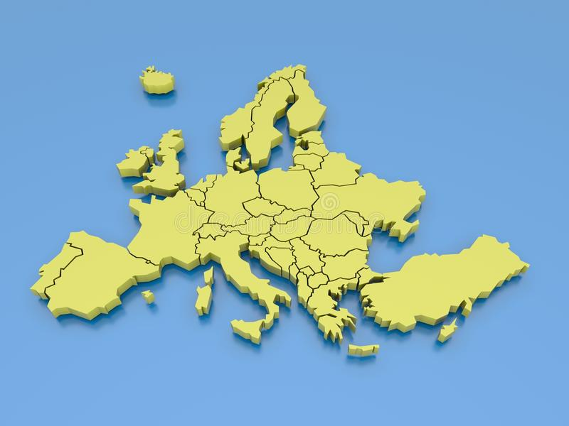 Download 3d Rendering Of A Map Of Europe In Yellow Stock Illustration - Image: 21291520