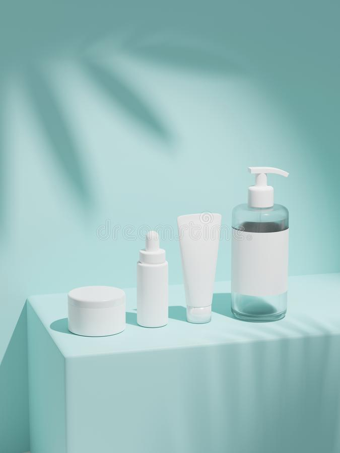 Free 3d Rendering Mock Up Cosmetic Bundle For Skin Care, Put On The Wall Under The Sun. White Plastic Bottles And Tubes White Caps. Royalty Free Stock Photo - 158736085