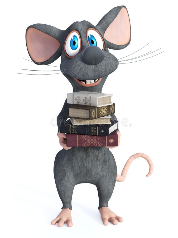 Free 3D Rendering Of A Cartoon Mouse Holding A Pile Of Books Stock Photography - 213539312