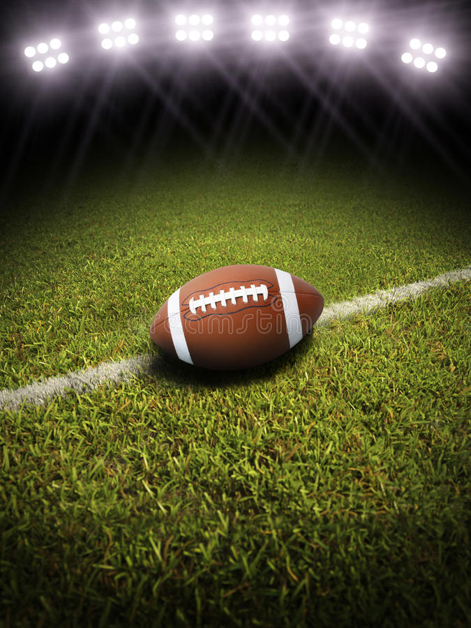 Free 3d Rendering Of A Football On A Field With Stadium Lighting Stock Photos - 33677013
