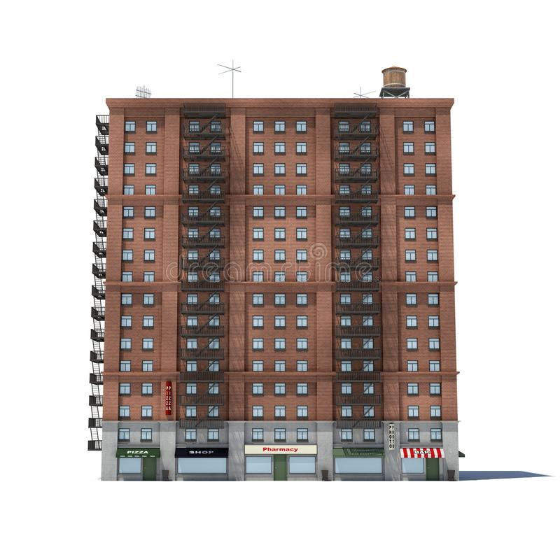 Free 3d Rendering Of A Red Brick Apartment Building With Fire Escapes And Shops On The Ground Floor. Stock Photo - 105217550