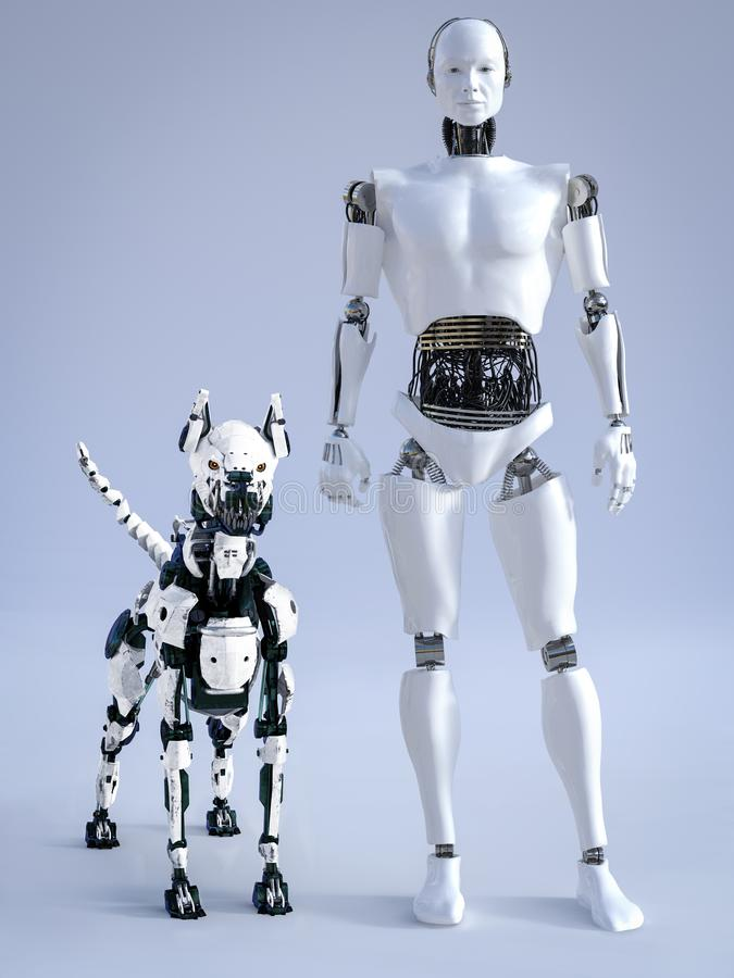 Free 3D Rendering Of Male Robot With A Futuristic Robot Dog Royalty Free Stock Photos - 143605758