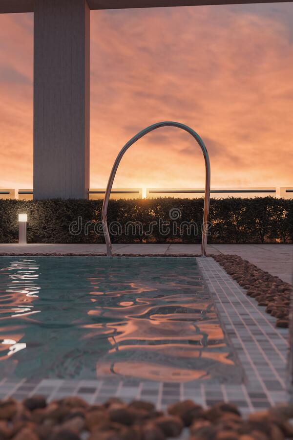 Free 3d Rendering Of Modern Swimming Pool In The Evening Sunlight Royalty Free Stock Photo - 195585835