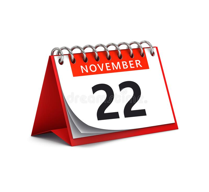 Free 3D Rendering Of Red Desk Paper November 22 Date - Calendar Page Royalty Free Stock Photos - 170201178
