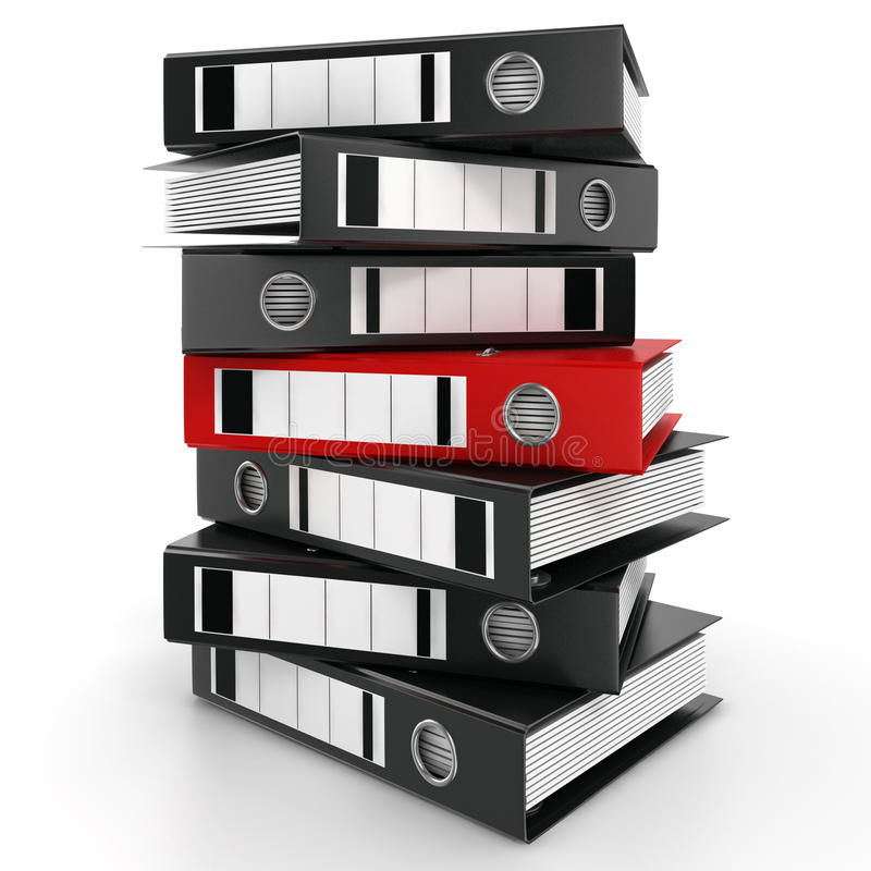 3D rendering of a pile of office ring binders vector illustration