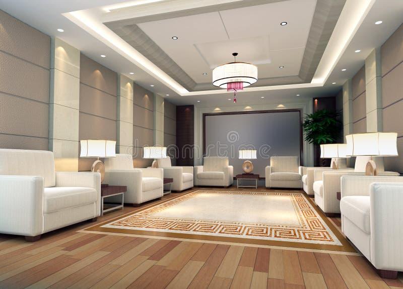 3d renderingu recepcyjny pokój ilustracja wektor