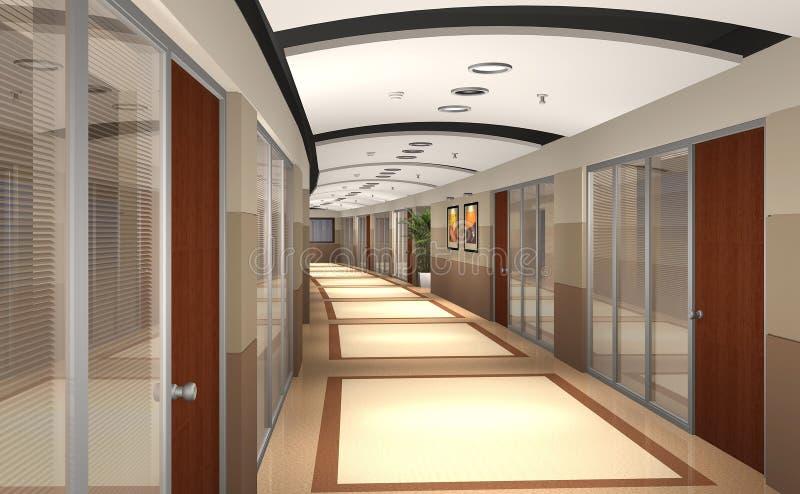 3D rendeu o corredor do escritório ilustração do vetor