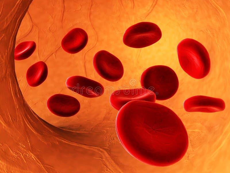 3D rendeu os glóbulos que fluem na artéria ilustração do vetor