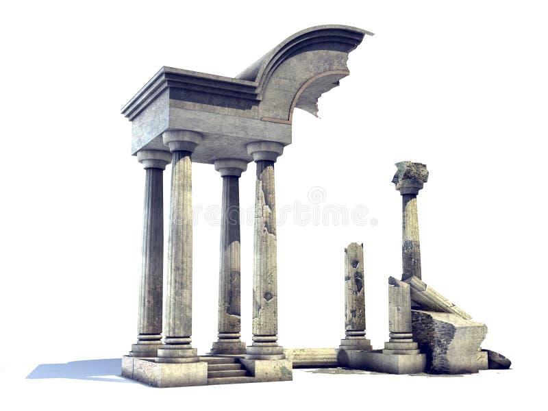 3D rendeu ruínas antigas do templo ilustração stock